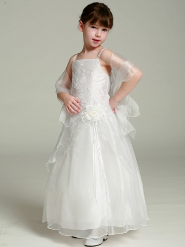 White Flower Girl Dress - Organza A-Line Dress Shawl