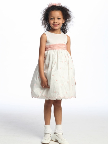 White Flower Girl Dress - Pink Polka Dot Embroidered Taffeta