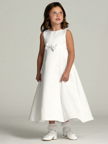 White Flower Girl Dress - Satin A-Line