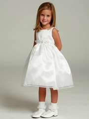 White Flower Girl Dress - Satin Bodice Organza Skirt