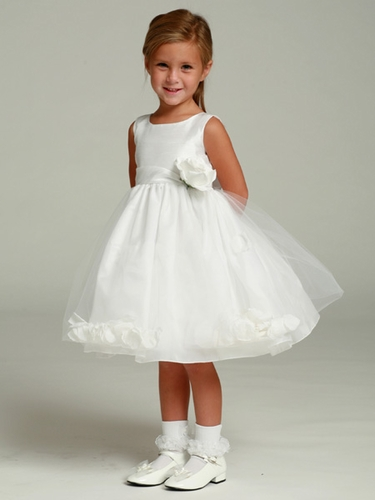 White Flower Girl Dress - Shantung Bodice w/ Tulle Skirt