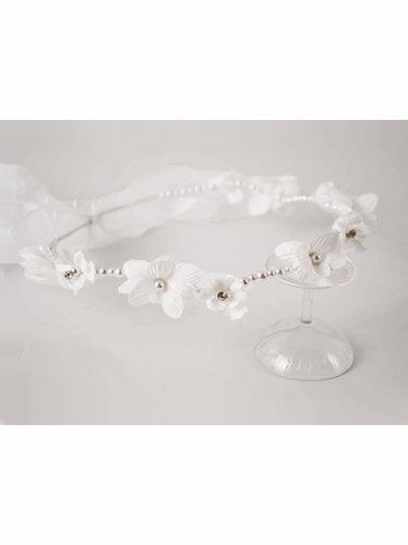 White Flower Halo w/ Pearl Headband