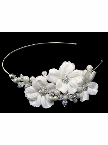 White Flower Hair Comb w/ Pearls & Rhinestones