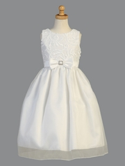 White Ribbon Tulle Communion Dress