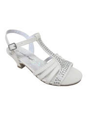 Girls' White Dress Sandals w/ Rhinestones