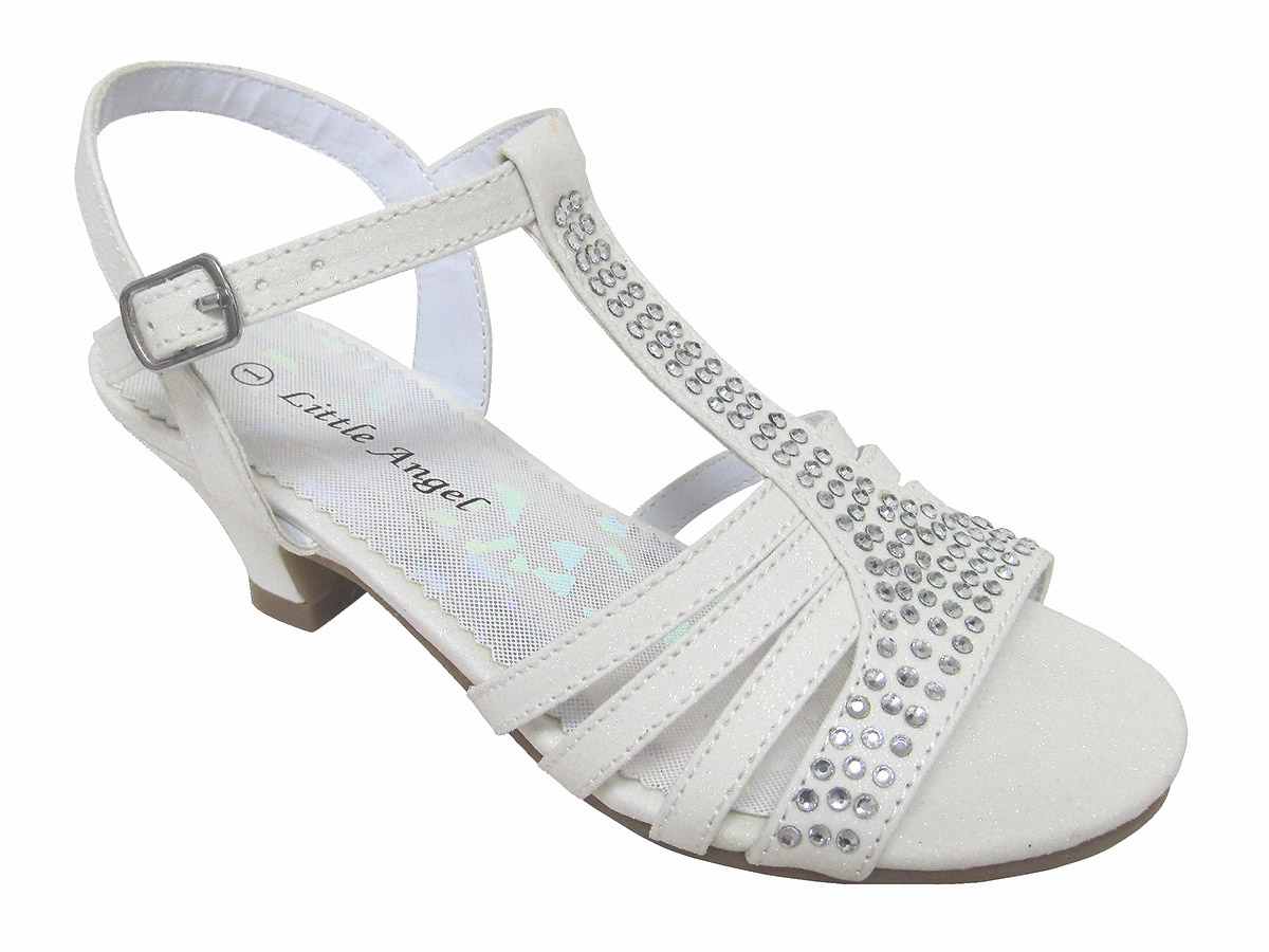 White Dress Sandals w/ Rhinestones