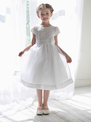 White Floral Lace Bodice Organza Dress