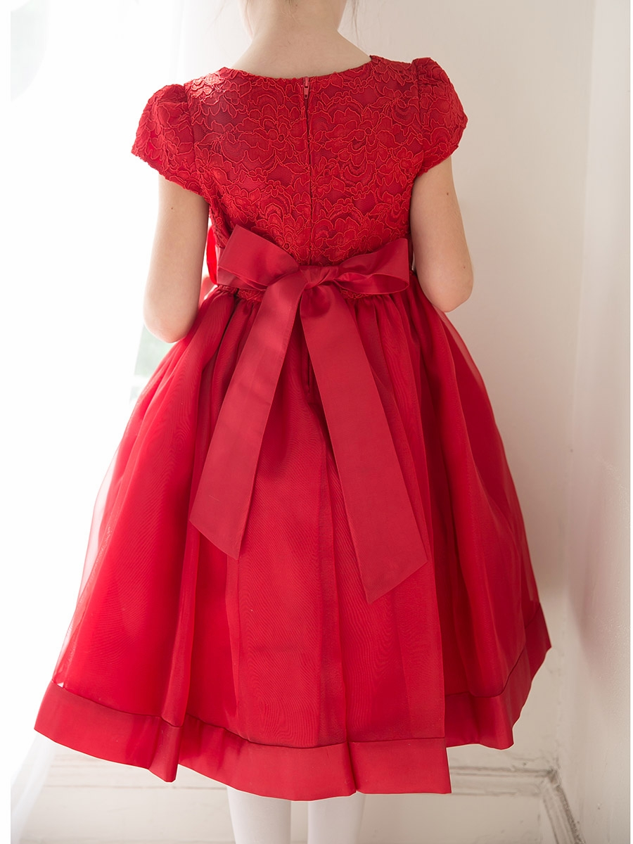 01a4842e3 ... Girl Dresses > White Floral Lace Bodice Organza Dress. Click to Enlarge  Click to Enlarge