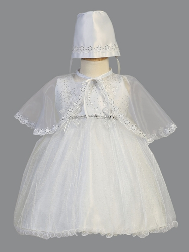 Girls White Christening Shimmering Tulle Dress w/ Bonnet