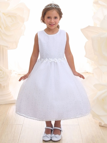 White Glitter Illusion Flower Girl Dress