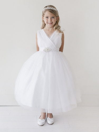 White Glitter V Neck Tulle Dress w/ Rhinestone Brooch