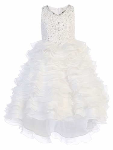 White Gwen and Zoe V-Neck Sparkle Ruffle High Low Dress