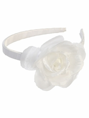 White Headband w/ Large Rose