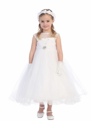 White Illusion Neckline w/ Lace Bodice & Rhinestone Embellished Dress