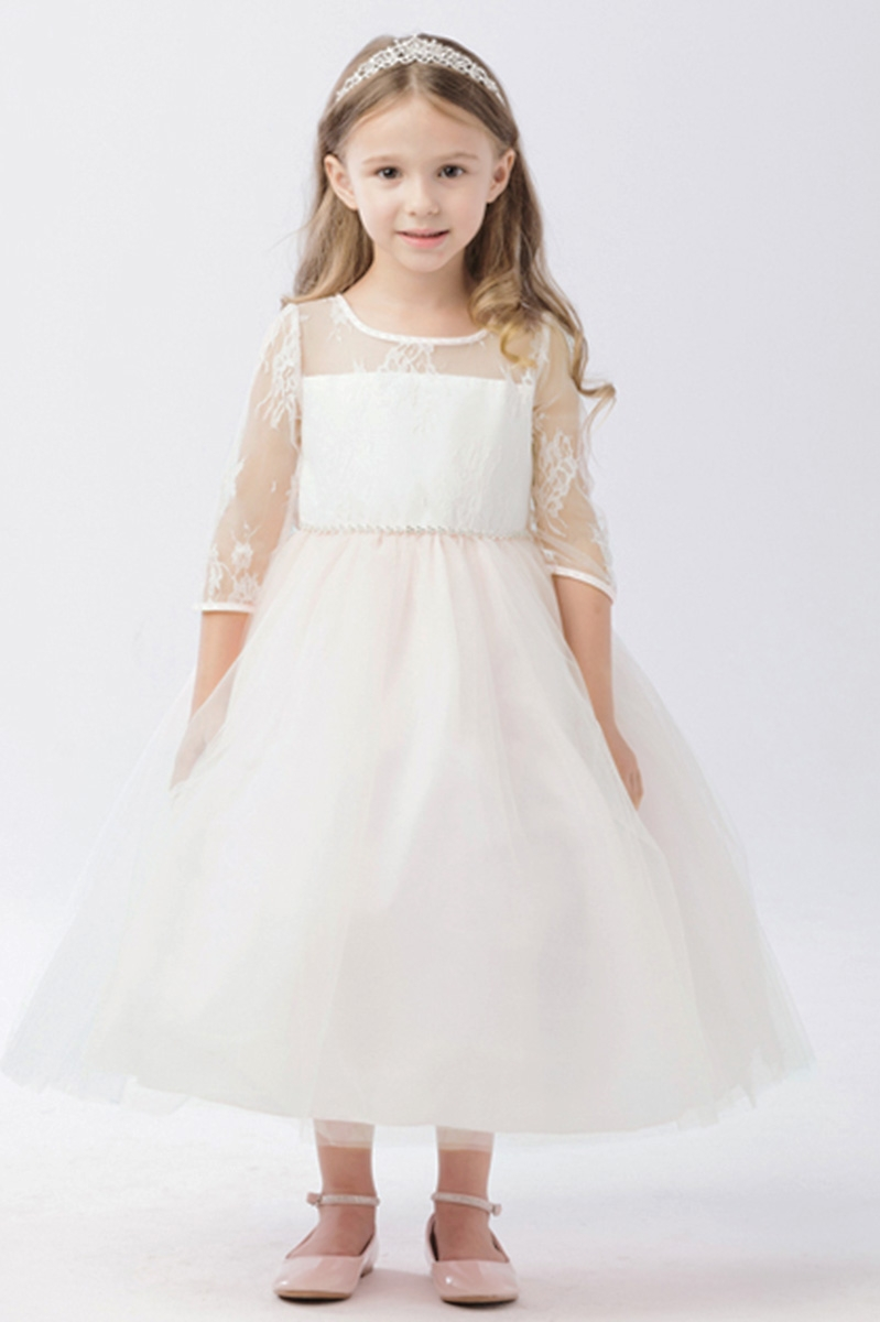 a15f8935e4110 Click to Enlarge. White Illusion Neckline w  Lace Embellishment 3 4 Sleeve  Dress