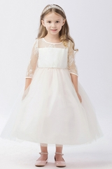White Illusion Neckline w/ Lace Embellishment 3/4 Sleeve Dress