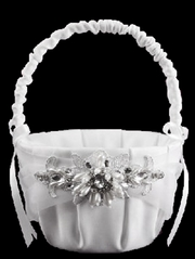 White Jeweled Motif Flower Basket
