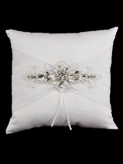 White Jeweled Motif Ring Pillow
