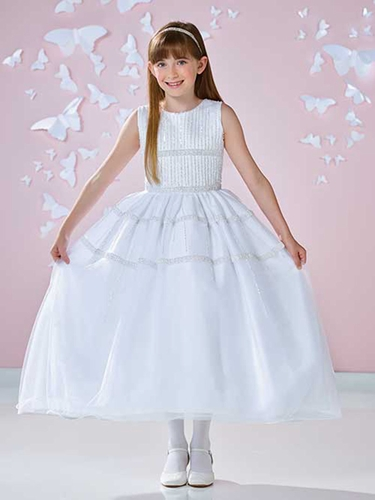 White Joan Calabrese Satin & Tulle Dress w/ Vertically Hand Beaded Bodice