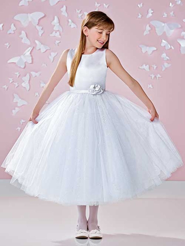 White Joan Calabrese Sleeveless Satin & Crystal Tulle Dress w/ Hand Beaded Flower Cluster