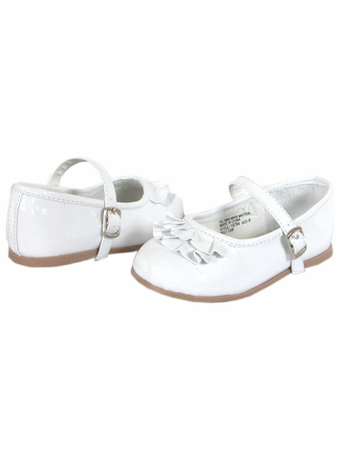 White Josmo First Walker Top Ruffle Buckle Shoes