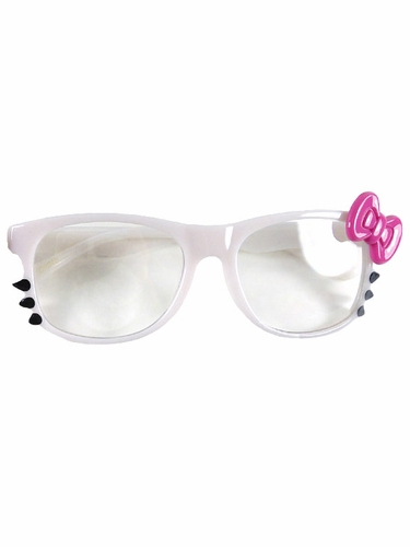 White Kids Clear Polycarbonate Lens Sunglasses w/ Pink Bow