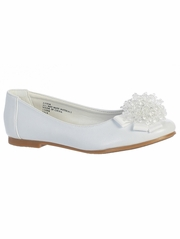 Kids White Flats With Crystal Bead Bow