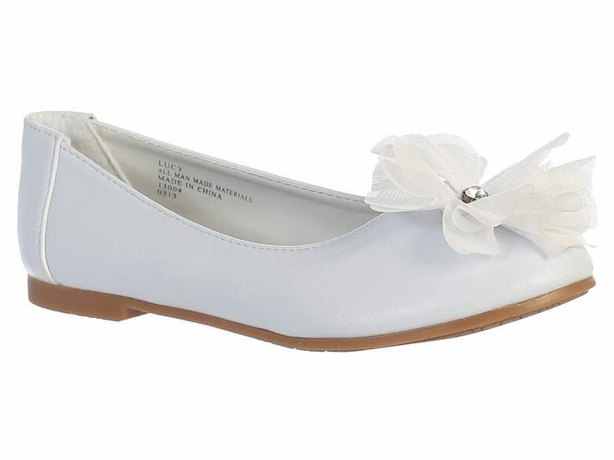 Girls Ivory Patent Rhinestone Encrusted Ankle Strap Flats 12 Kids