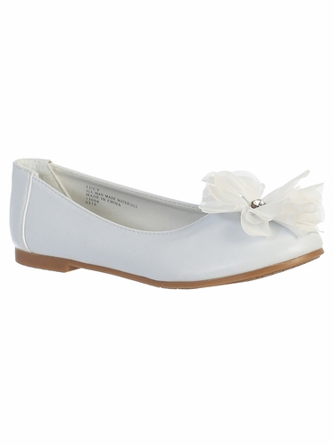 Kids White Flats w/ Flower Bow & Rhinestone