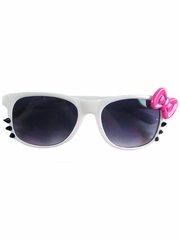 White Kids Smoke Gradient Polycarbonate Lens Sunglasses w/ Pink Bow