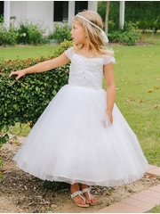 White Lace Applique Bodice w/ Tulle Gown