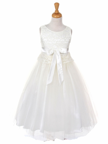 White Lace Bodice w/ Double Tulle Over Charmeuse