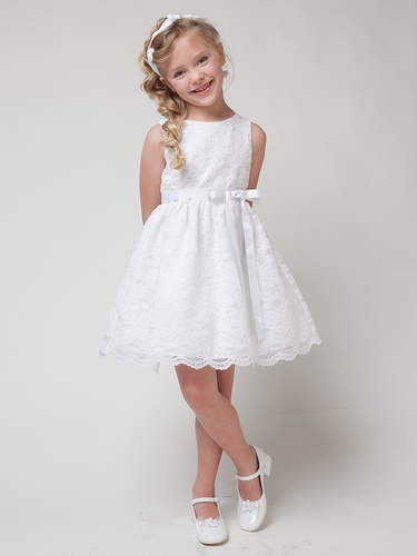 White Lace Dress w/ Sash