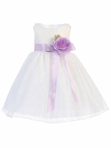 Blossom White Lace Dress w/ Detachable Flower & Sash