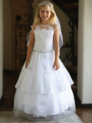 White Lace Dress w/ Tulle & Illusion Neckline