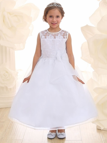 White Lace Flower Bodice Dress w/ Ribbon