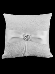 White Lace Ring Pillow w/ Satin Bow & Pearls