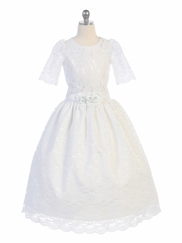 White Lace 3/4 Sleeve Dress w/ Floral Sash