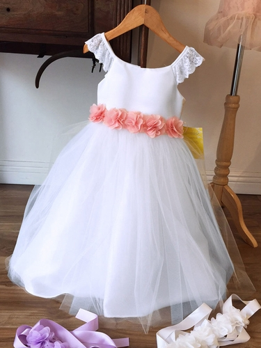 White Lace Sleeve Satin & Tulle Dress w/ Chiffon Flower Sash