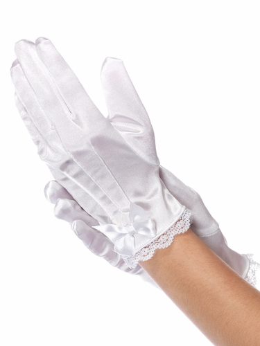 White Lace Trimmed Satin Gloves w/ Bow Accent