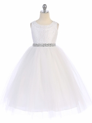 White Lace & Tulle Dress w/ Rhinestone Belt