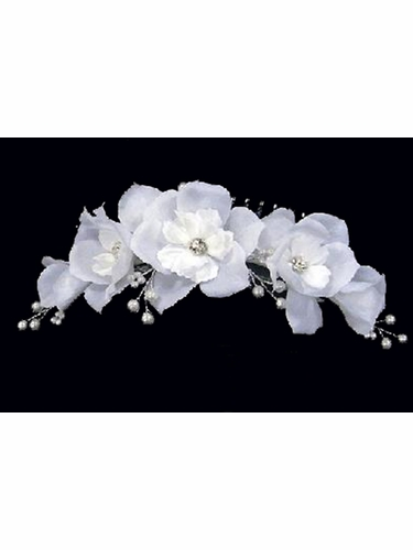 White Large Floral Comb w/ Pearls