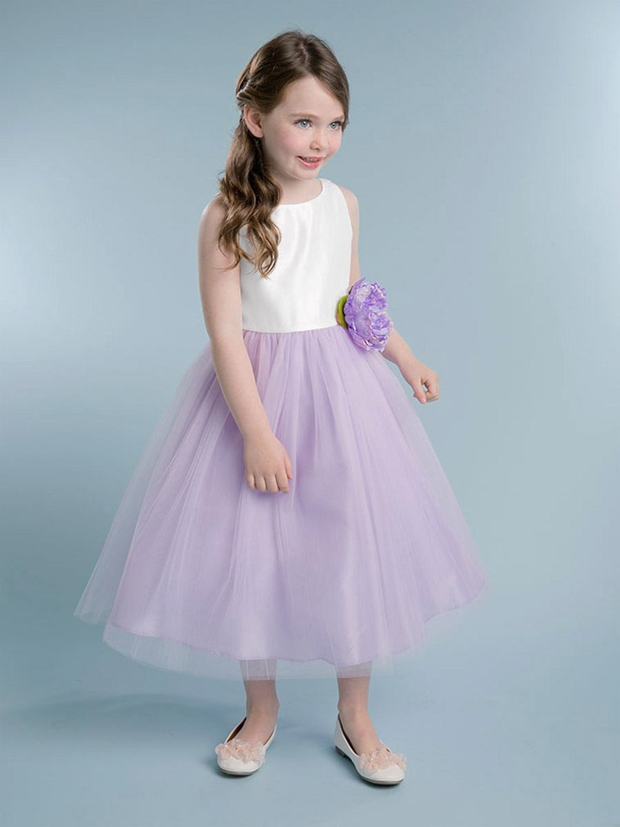 Off-White/Lilac Satin & Tulle Dress w/ Flower