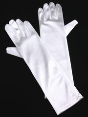 White Long Satin Gloves