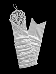 White Long Satin Lace Glovettes