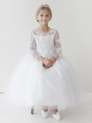White Long Sleeve Lace w/ Illusion Neckline Communion Dress
