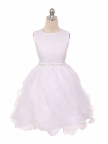White Matte Satin Soft Organza Special Occasion Dress
