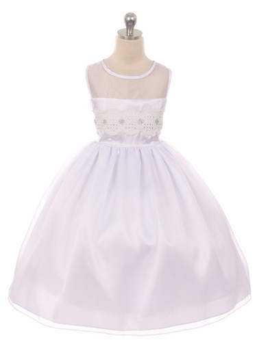 White Mesh Lace Contrast Bodice w/ Jewel Accent & Voluminous Skirt