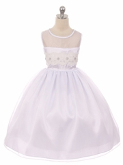 CLEARANCE - White Mesh Lace Contrast Bodice w/ Jewel Accent & Voluminous Skirt