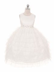 White Mesh Layered Princess Dress